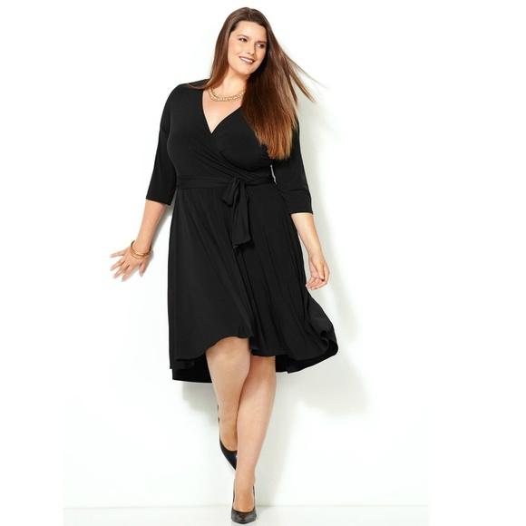NWT Plus Size Black Wrap Dress - Avenue NWT